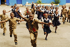 Jamaican school children at play