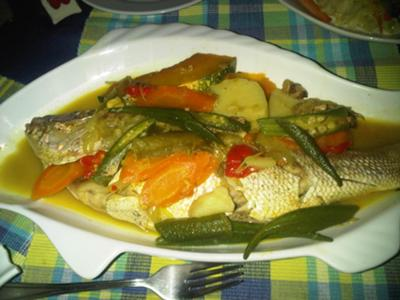 Jamaican Stew Fish served with okra and carrot