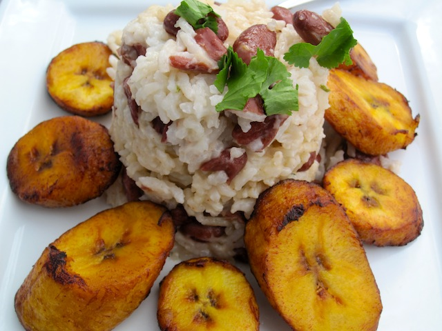 Jamaican Rice and Peas served with plantain