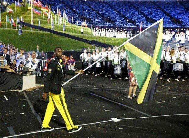 Jamaican flag Bearer Usain Bolt at the London 2012 Olympic ceremony
