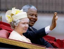 Nelson Mandela and Britain's Queen Elizabeth II