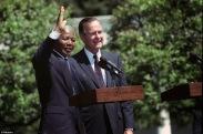 Nelson Mandela and George Bush