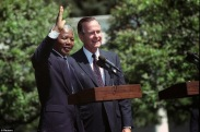 Nelson Mandela and George Bush