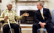 President Bush meets with Nelson Mandela.