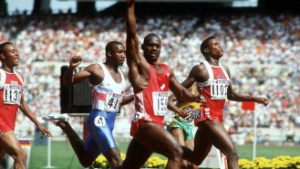 Ben Johnson's win over Carl Lewis; of wh ich he was DQed for drug use.