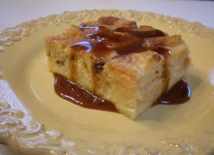 Jamaican Bread Pudding with Sorrel Sauce