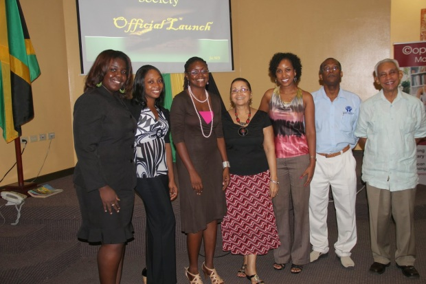 Executive Members of Jamaican Writers Society, The photo shows left to right: Poetess Denise N. Fyffe (poet, writer); Erika Heslop Martin (poet, writer); Tanya Batson Savage, (publisher of adult and children's books, and author); Diane Browne ( author children's books); Kalilah Enriquez, (poet); Godfrey Taylor (musician, author); Arnoldo Ventura (scientist, poet)