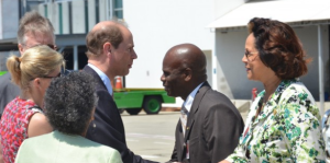 Prince Edward greets a Jamaican reception committee