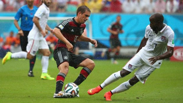 2014 Fifa World Cup - Germany captain Philipp Lahm and USA defender DaMarcus Beasley vie for the ball in Recife.