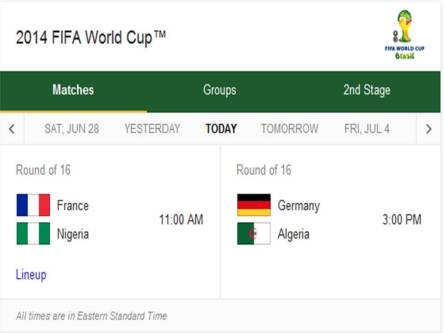 2014 FIFA World Cup - Match Schedule for Monday, June 30, 2014