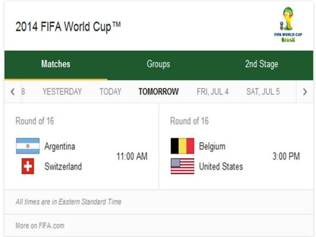 2014 FIFA World Cup - Match Schedule for Tuesday, July 1, 2014