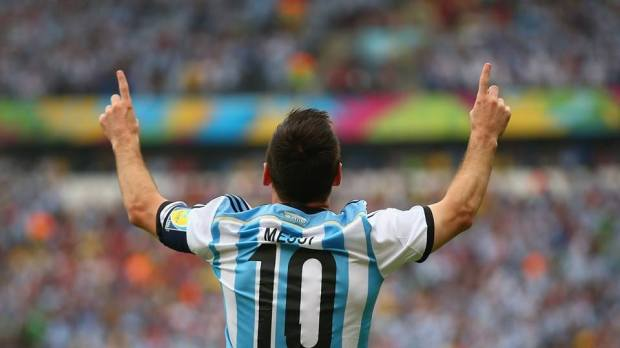 2014 FIFA World Cup - Argentina captain Lionel Messi celebrates scoring the opener in the 3rd minute.
