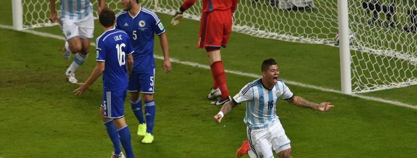 2014 Fifa World Cup - Argentina 1 vs. 0 Bosnia-Herzegovina - Argentina's Marcos Rojo celebrates