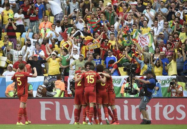 2014 FIFA World Cup - Belgium's footballers celebrate a goal against Russia.