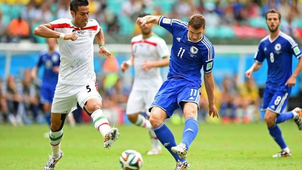 2014 FIFA World Cup - Bosnia and Herzegovina striker Edin Dzeko scores the opener in the 23rd minute.