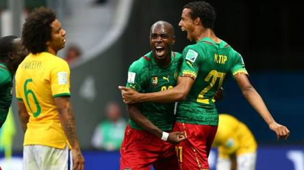 2014 FIFA World Cup - Cameroon celebrate Joel Matip's (right) equaliser in the 26th minute.