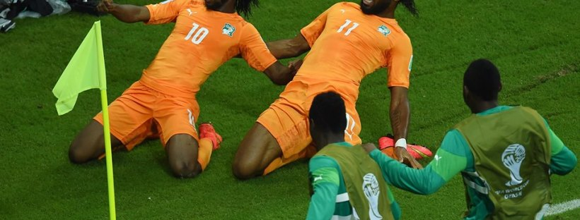 Côte d'Ivoire forwards Gervinho and Didier Drogba - Côte d'Ivoire 2 vs 1 Japan