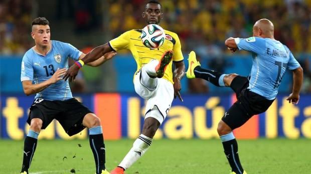 2014 FIFA World Cup - Colombia's Jackson Martinez controls the ball at the Maracana.