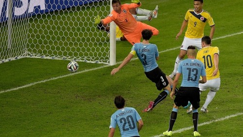 2014 FIFA World Cup - Colombia's Rodriguez scores the second goal of the match.