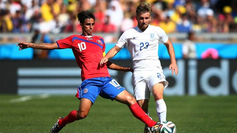 2014 FIFA World Cup - Costa Rica captain Bryan Ruiz makes a challenge on England defender Luke Shaw.