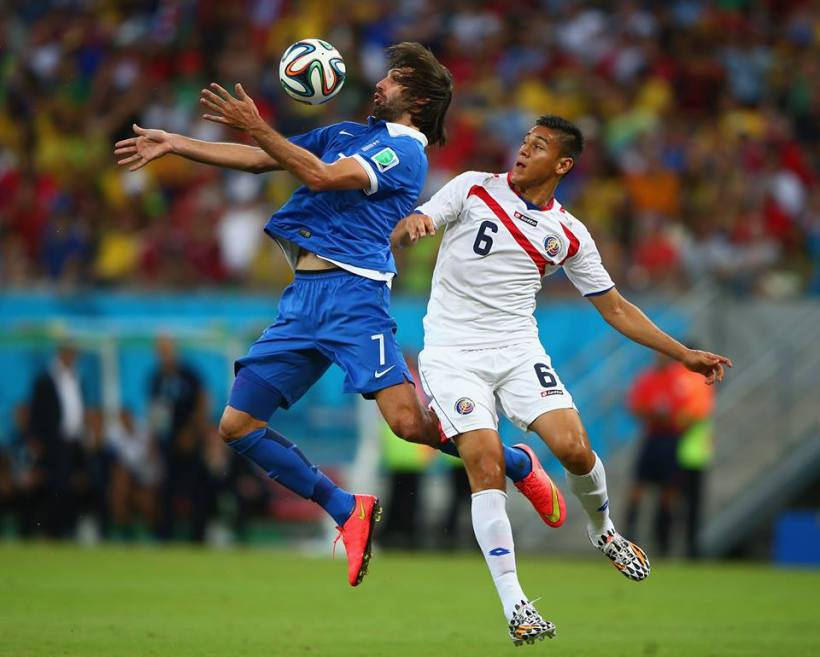 2014 FIFA World Cup - Giorgos Samaras of Greece controls the ball against Oscar Duarte of Costa Rica.