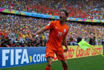 2014 FIFA World Cup - Klaas-Jan Huntelaar celebrates scoring the winning goal in added time for the Netherlands.