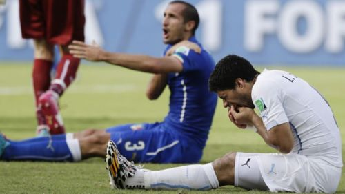 2014 Fifa World Cup - Luiz Suarez bites Italian player Giorgio Chiellini in the Uruguay vs. Italy