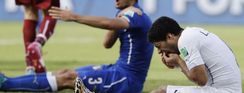 2014 Fifa World Cup - Luiz Suarez bites Italian player Giorgio Chiellini in the Uruguay vs. Italy
