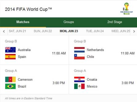 2014 Fifa World Cup - Match Schedule for Monday, June 23, 2014