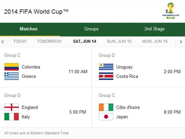 Match Schedule for Saturday, June 14, 2014