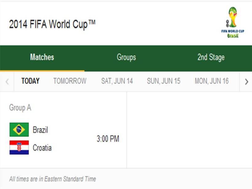 Match Schedule for Thursday, June 12, 2014