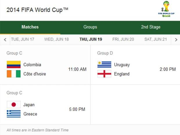2014 Fifa World Cup Match Schedule for Thursday, June 19, 2014