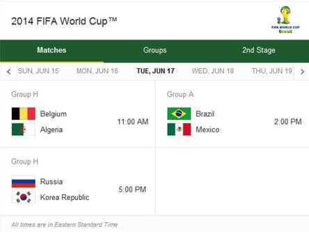Match Schedule for Tuesday, June 17, 2014