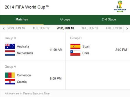 Match Schedule for Wednesday, June 18, 2014