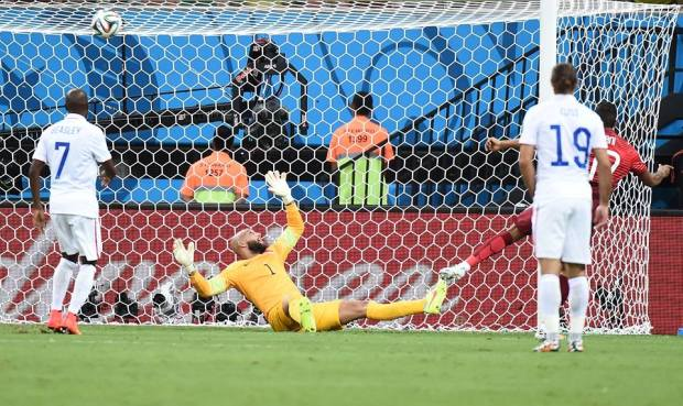 2014 FIFA World Cup - Nani of Portugal scores his team's first goal during the 2014 FIFA World Cup Brazil
