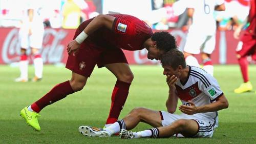 2014 Fifa World Cup - Pepe saw red card for this clash with Germany's Muller.