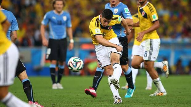 2014 FIFA World Cup - Rodriguez's volley in the first half gave Colombia the lead.