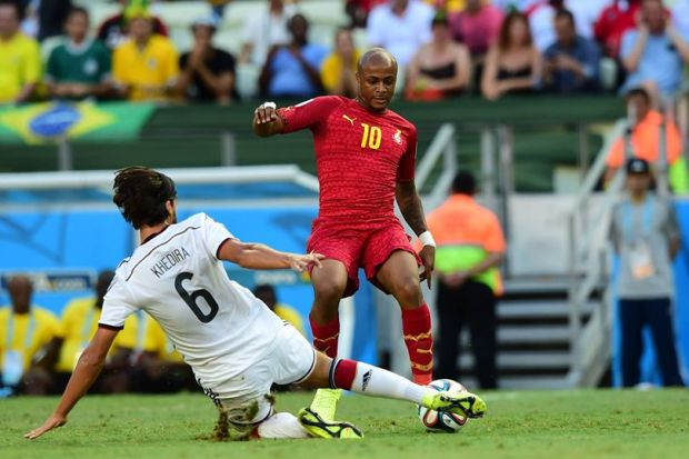 2014 FIFA World Cup - Sami Khedira tackles Andre Ayew.