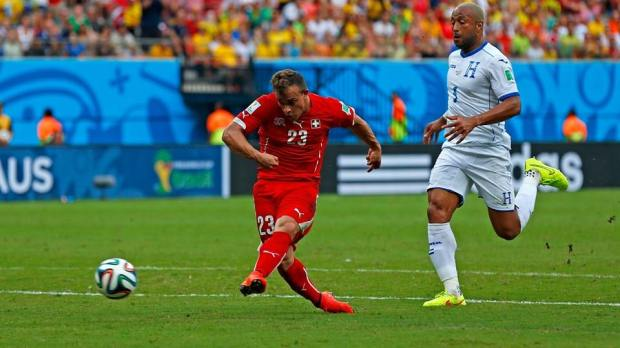 2014 FIFA World Cup - Shaqiri scores his second of the match at the Arena Amazonia.