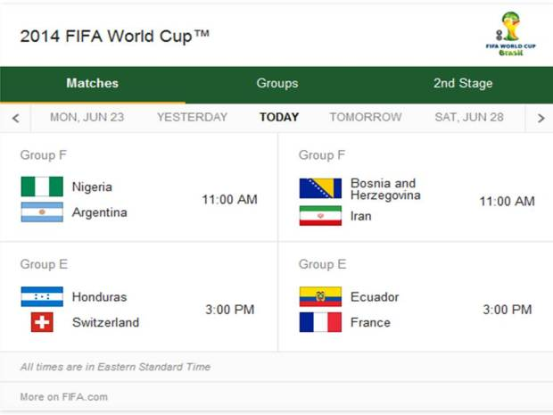 Match Schedule for Wednesday, June 25, 2014