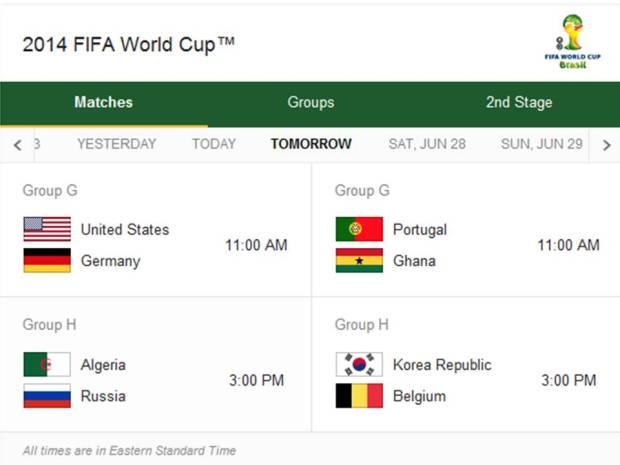 Match Schedule for Thursday, June 26, 2014