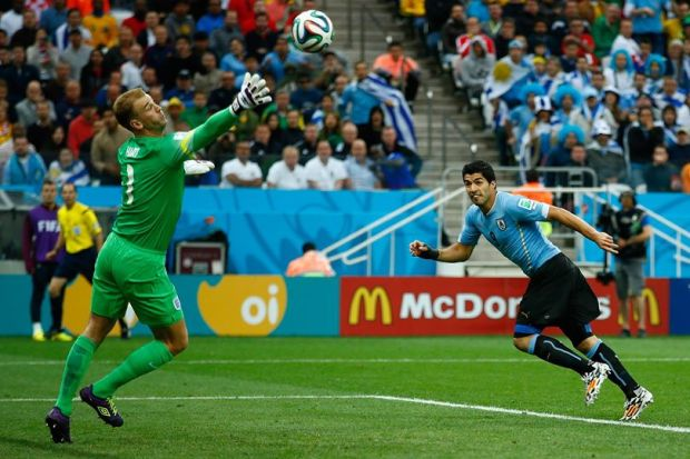 2014 FIFA World Cup - Suarez's header came in the 39th minute.