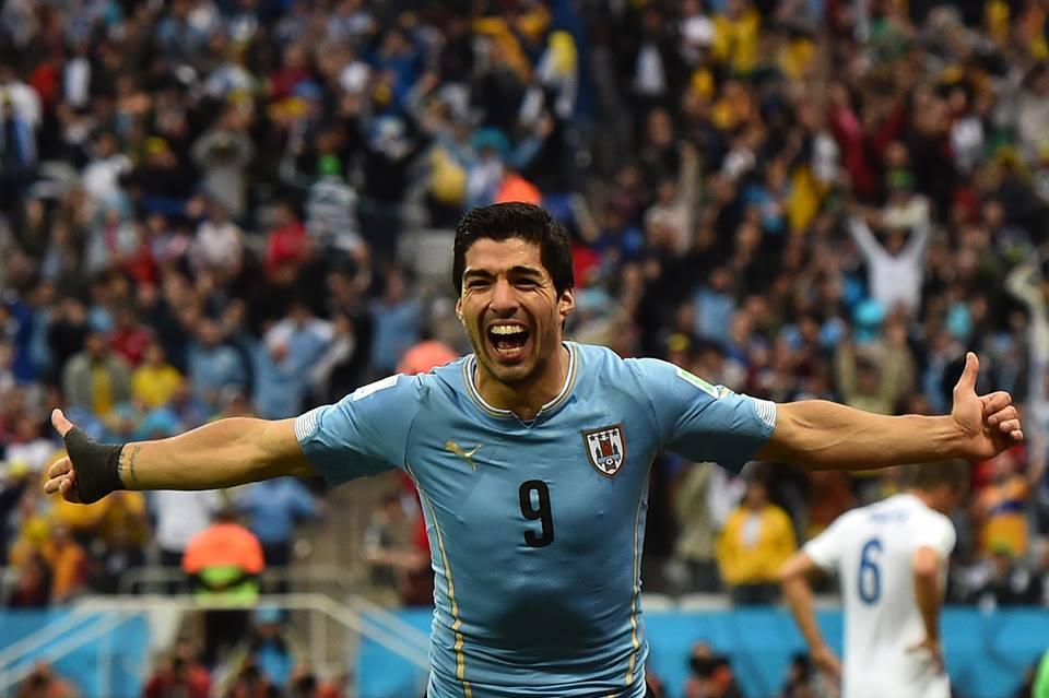 2014 FIFA World Cup - Uruguay's Suarez celebrates scoring the opener in the 39th minute.