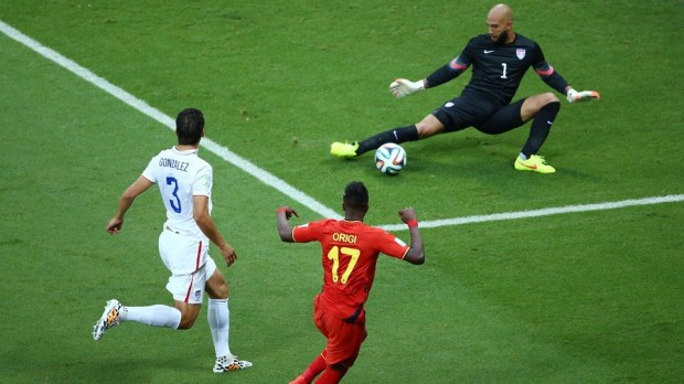 2014 FIFA World Cup - Belgium forward Divock Origi has a shot saved by USA goalkeeper Tim Howard.