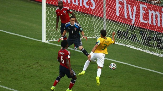 2014 FIFA World Cup - Brazil's Silva scored from Neymar's corner kick.