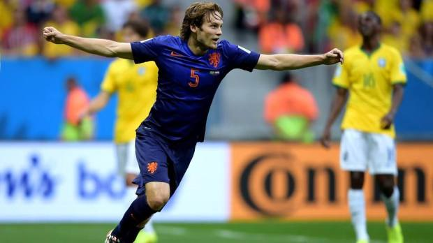 2014 FIFA World Cup - Daley Blind of the Netherlands celebrates scoring his team's second goal