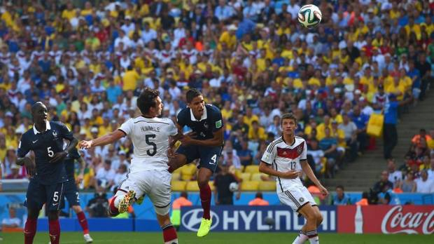 2014 FIFA World Cup - Germany's Hummels scores the opener at the Estadio do Maracana.