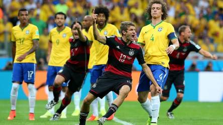 2014 FIFA World Cup - Germany's Muller celebrates scoring his fifth goal of Brazil 2014