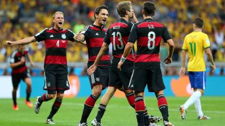 2014 FIFA World Cup - Germany's Thomas Muller celebrates scoring the opening goal in Belo Horizonte.