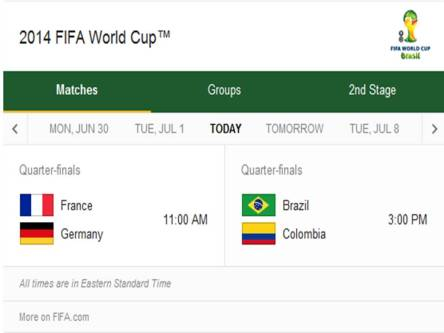 2014 FIFA World Cup - Match Schedule for Friday, July 4, 2014